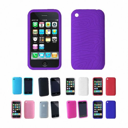 Apple iPhone 3G 3Gs 8GB 16GB 32GB Textured Silicone Skin Case Cover + Free Screen Protector, Purple, One Size