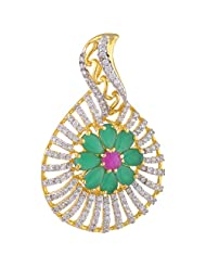 Sparkles Creation Green Floral Designer Pendant Set In American Diamonds And One Gram Gold Plated Metal