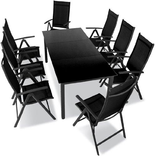 9-teilige Gartengarnitur Alu Sitzgarnitur, Sitzgruppe mit Glastisch, komfortable Aluminium Gartenmöbel dunkelgrau