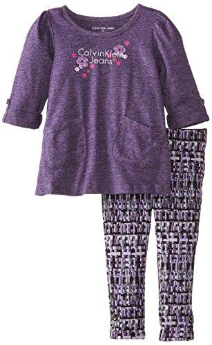 Calvin Klein Little Girls' Logo Printed Legging Set, Purple, 5 front-994454