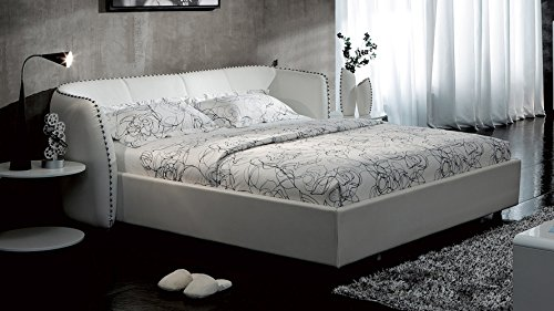 Vitali Leather Platform Queen Bed by Zuri Furniture- White (Italian Bed Furniture compare prices)
