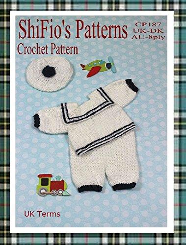 Crochet Pattern - CP187 - Baby Boy Sailor Suit - 0-3mths, 3-6mths, 6-9mths - UK Terminology