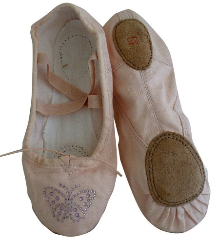 Cheap Girls Pink Canvas split-sole Ballet Slippers with Lt. Pink rhinestone butterfly (B006UZTT8S)