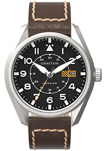 Grayton Harrier Men's Quartz Watch with Black Dial Analogue Display and Brown Leather Strap GR-0014-005.6