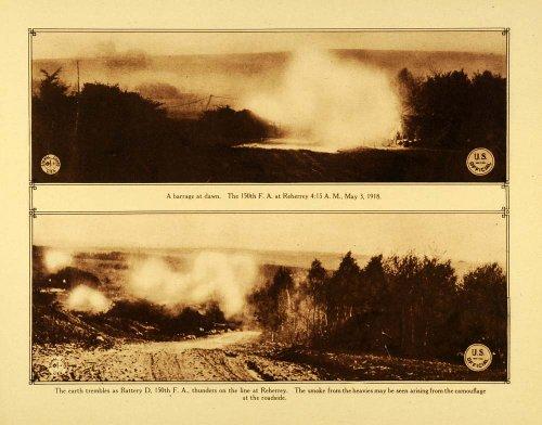1920 Rotogravure WWI 150th Field Artillery Battery D Reherrey Warfare Explosives - Original Rotogravure