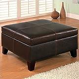 Coaster 501042 Dark Brown Leather Vinyl Storage Ottoman with...