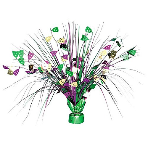 Amscan Eye-Catching Mardi Gras Party Spray Centerpiece Table Decoration (1 Piece), Multi Color, 18 x 3.6