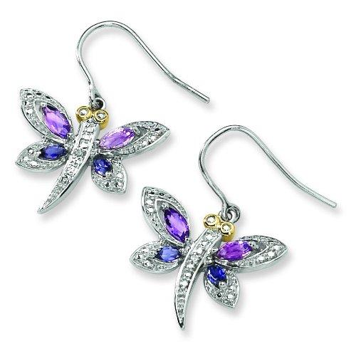 Sterling Silver & 14K Gold Multi Gemstone Earrings