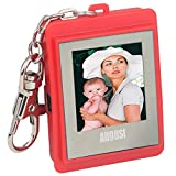 "August DP150 1.5"" Digital Photo Frame - Keyring Photo Viewer with Built-in Memory for 107 Pictures - Plug & Play (Red)"
