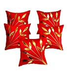 FabLooms Red N Golden Leaf Design Cushion Covers - Set of 5 (40.64 x 40.64 CM)
