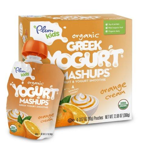 Plum Kids Organic Greek Yogurt Mashups Orange Cream 4 Count Pack of 6