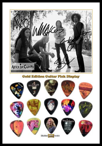 Alice In Chains Gold Edition Guitar Pick Display With 15 Guitar Picks A4 Size