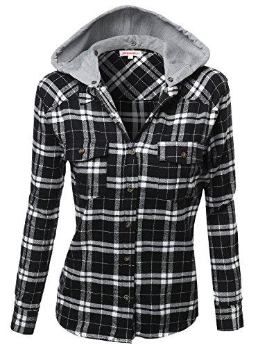 Super soft plaid checker detachable hood flannel black for Super soft flannel shirts
