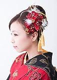 組紐付き花髪飾り かんざし 赤 レッド 梅[ 成人式 振袖 卒業式 袴 着物 和装 髪型]