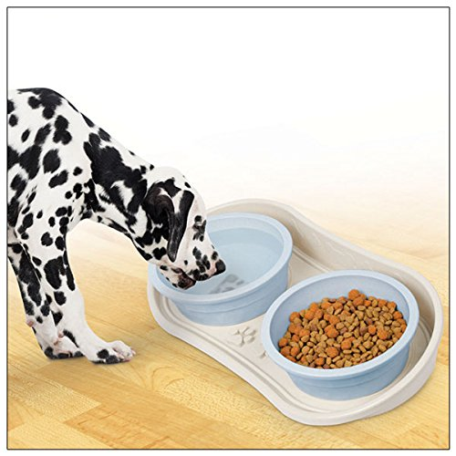 Non-Skid Dog Bowl Tray - Fits Two Dog Bowls - Beige