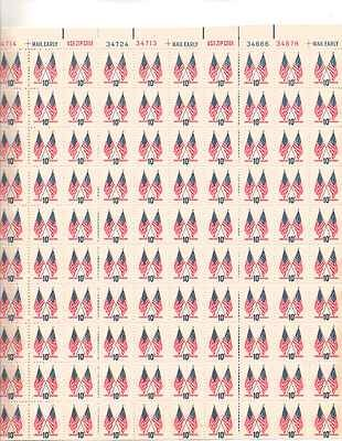 Crossed 50 Star and 13 Star Flags Sheet of 100 x 10 Cent US Postage Stamps 1509