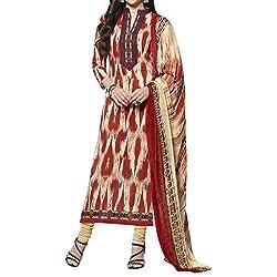 Bhelpuri Women Red Cambric Cotton Dress Material