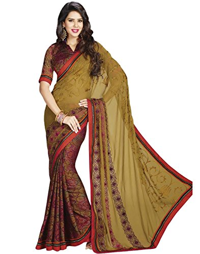 Cbazaar Party Beige Georgette Solid Sari (beige\/sand\/tan)