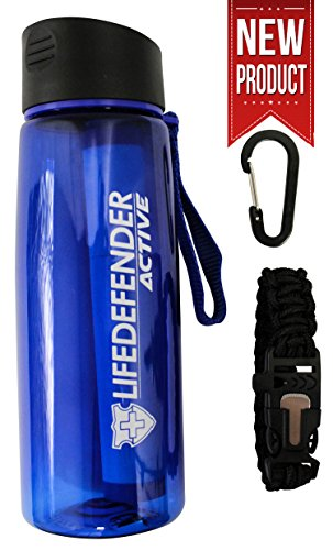The BEST Water Filter Bottle for Hiking/Camping/Survival - 50% More Filtration Capacity than LifeStraw GO - Removes 99.999% of Waterborne Bacteria - Includes Paracord Bracelet with Flint and Whistle (Sawyer Water Filter Bottle compare prices)