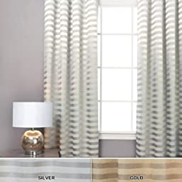 Best Home Fashion Satin and Suede Stripe Curtains - Antique Bronze Grommet Top - Silver - 48\