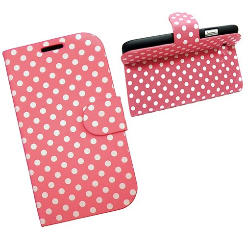 Xtra-Funky Exclusive Polka Dot Spots Leather Flip Case Cover For Apple Iphone 5 / 5S - Pink