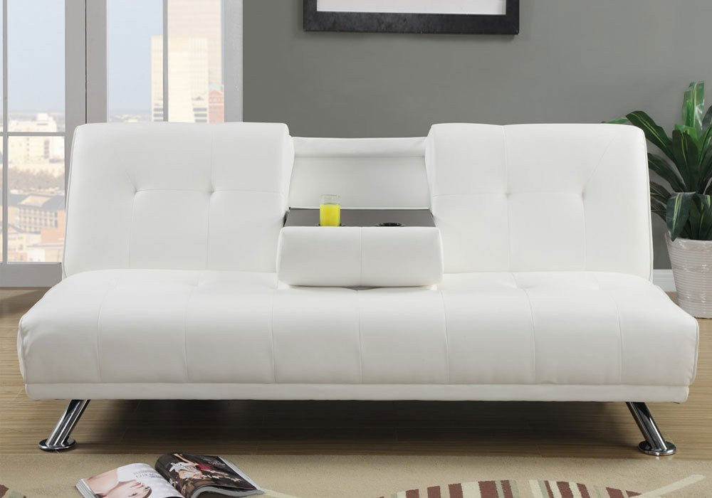 1PerfectChoice White Tufted Faux Leatherette Adjustable Sofa Bed Futon Center Drop Down Console