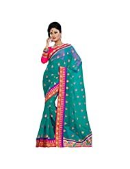 Amazing Green Colored Embroidered Faux Georgette Saree By Triveni
