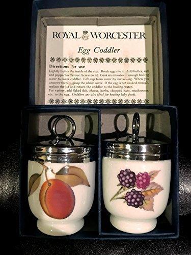 Royal Worcester Egg Coddler Pair Evesham Pattern Peach and Berries Fruit