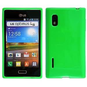 Original Phonecastle Schutzhülle Silikon Gel Case in Grün Silicon Tasche Hülle LG E610 Optimus L5 & 2 x Displayschutzfolie