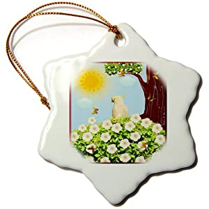 3dRose orn_6564_1 Sulphur Crested Cockatoo Bird Art Porcelain Snowflake Ornament, 3-Inch