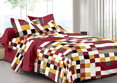 Cenizas 100% Cotton Double Bedsheet With 2 Pilow Covers( T2014 A ) (120 TC)