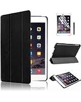 Swees® Ultra Slim Apple iPad Mini Étui Housse en Cuir Coque Smart Cover Case pour Apple iPad Mini 1/2/3 avec Stand de positionnement support et le sort de veille + film de protection d'écran et Stylet (Noir)