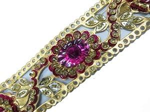 1 Yarda Oro Artificial Lentejuela Cuero Rosa Falsa piedra del cordón del ajuste de la cinta del