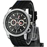 Tyre Style Silicone Mens Boys Quartz Movement Wrist Watch Watches Sports Casual