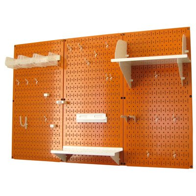 Wall Control 4ft Metal Pegboard Standard Tool Storage Kit - Orange Toolboard & White Accessories