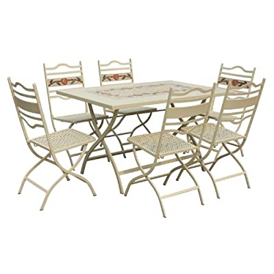 LeisureGrow Claremont 80cm x 130cm Rectangular Folding Dining Set - White Metal Garden Furniture Set - 6 Seater Dining Set - Outdoor Patio Table and Chair Set