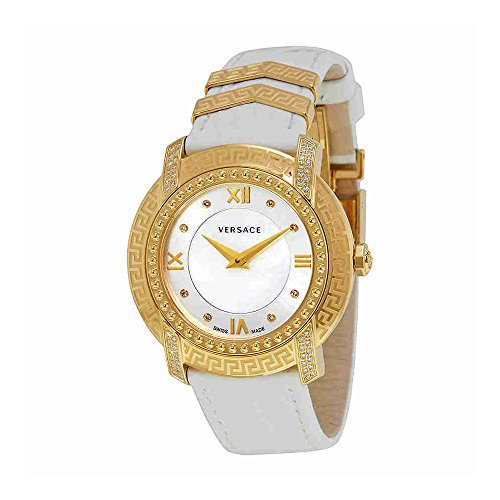 Versace-Womens-DV-25-Swiss-Quartz-Stainless-Steel-and-Leather-Casual-Watch-ColorWhite-Model-VAM060016