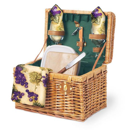 Picnic Time Napa 11.75in. Willow Basket w/ Wine & Cheese Service For 2 (Hunter Green)