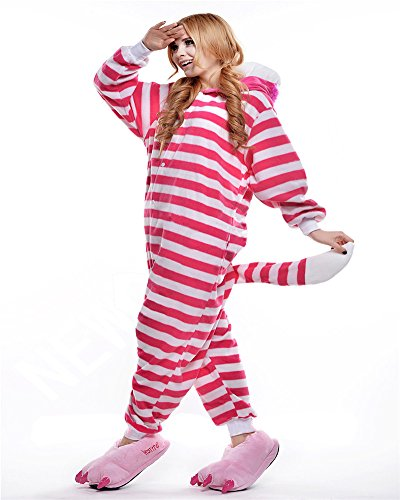 Cute Cartoon Pajamas Ucsports Cosplay-Pigiama-tuta con cappuccio, da donna, motivo: Halloween 02 Cheshire Cat medium