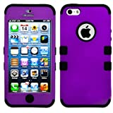 myLife (TM) Black and Plum Purple - Colorful Robot Series (Neo Hypergrip Flex Gel) 3 Piece Case for iPhone 5/5S... by myLife Brand Products