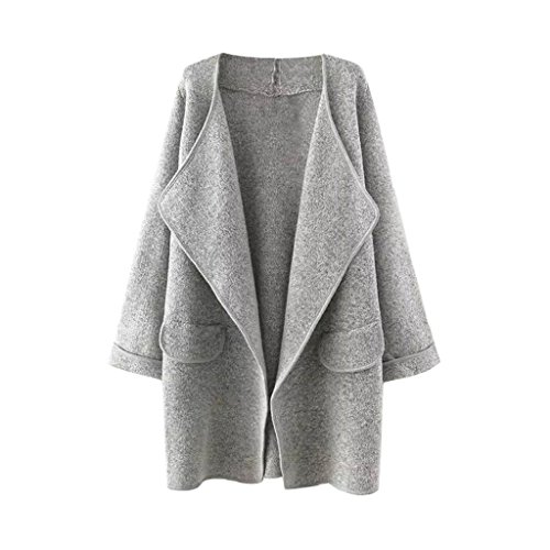 Arrowhunt Women's Solid Lapel Long Sleeve Loose Open Front Sweater Coat Grey