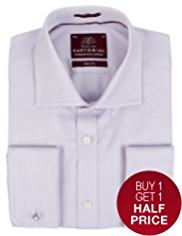 2in Longer Slim Fit Sartorial Pure Cotton Herringbone Shirt