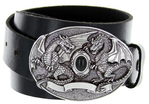 Double Dragon Gem * Made in Italy * Belt Buckle Casual Jean Leather Belt (32, Black)