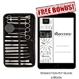 Dissection Kit - 20 Piece Set of and Stainless Steel Tools for Dissecting Frogs - Best for Young &Professional Biology, Anatomy, Botany & Veterinary Students or Teachers with Black Zipper Case