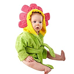 Baby Children Cotton Soft Cartoon Animal Cute Lovely Bath Robe Sunflower 1-12 months