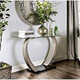 Furniture of America Navarre Glass Top Console Table in Satin (Color: Black)