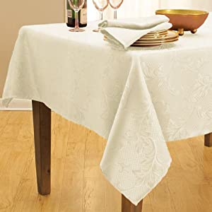 "Bella Damask Ivory Tablecloth - 52""Wx70""L Oblong Tablecloth - Ivory"