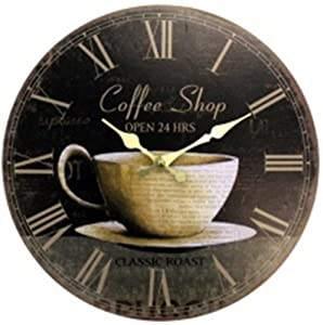 Geneva clock coffee mdf wall clock 12 inch coffee themed - Coffee themed wall clocks ...