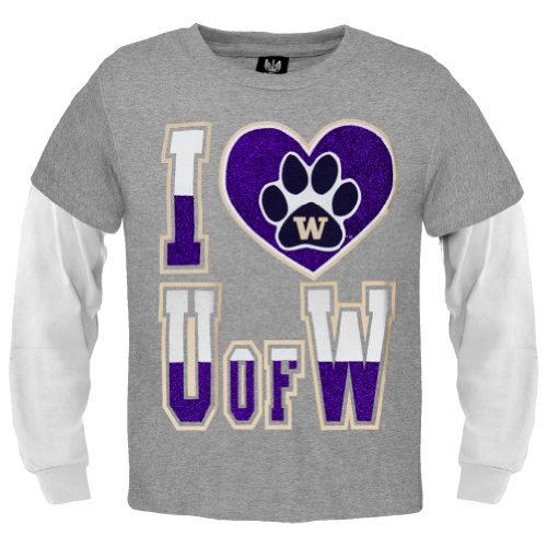 Washington Huskies - Girls Glitter I Heart Logo Girls Youth Soft Long Sleeve 2Fer Grey front-1048071