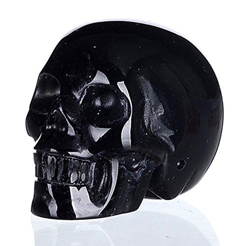 """Mineralbiz 1.5"""" Natural Black Obsidian Hand Carved Crystal Skull, Human Skull Head Carving, Pocket Skull, Healing Reiki"""